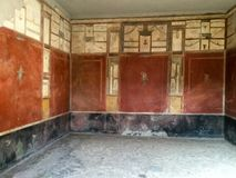 Walls in a house of Pompeii. stock photo