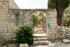 Entrance to the artist`s studio in the old town royalty free stock images