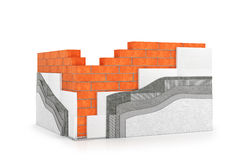 Walls, insulation of buildings. Thermal insulation. 3d illustration royalty free illustration
