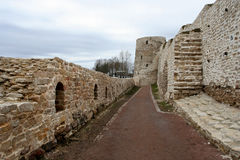The walls of Izborsk fortress Royalty Free Stock Image