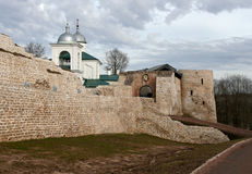 The walls of Izborsk fortress Stock Photography