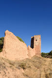 Walls and Jaque tower in  Daroca Zaragoza province, Aragon, Spai. N Royalty Free Stock Photo