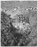 The walls of Jericho fall down. Picture from The Holy Scriptures, Old and New Testaments books collection published in 1885, Stuttgart-Germany. Drawings by royalty free illustration