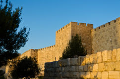 The walls of Jerusalem. At sunset stock photo