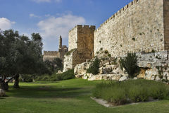 At walls of Jerusalem. Royalty Free Stock Images