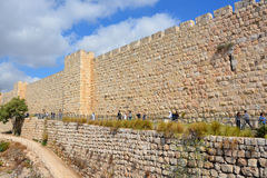 Walls of Jerusalem. Surround the Old City of Jerusalem. In 1535 when Jerusalem was part of the Ottoman Empire, Sultan Suleiman I ordered the ruined city walls Royalty Free Stock Photo