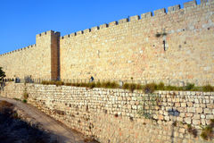 Walls of Jerusalem. Surround the Old City of Jerusalem. In 1535 when Jerusalem was part of the Ottoman Empire, Sultan Suleiman I ordered the ruined city walls Stock Image