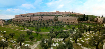 Walls and Jewish Cemetery of the Jerusalem Royalty Free Stock Photography