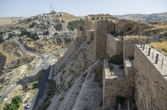 Walls of the Kerak Castle, a large crusader castle in Kerak (Al Stock Photography