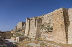 Walls of the Kerak Castle, a large crusader castle in Kerak (Al Royalty Free Stock Photography