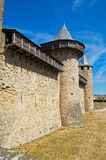 Walls with machicolation. Wall and towers with machicolation of wood of the castle of the Cite of Carcassonne stock image