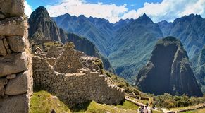 The walls of Machu Picchu,  the lost Inca city in Peru Royalty Free Stock Photos