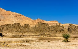Walls of the Madinet Habu Temple on the West Bank of the Nile - Royalty Free Stock Images