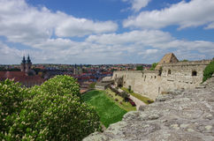 Walls and main gate of rampart of the Eger fort castle with me Royalty Free Stock Images