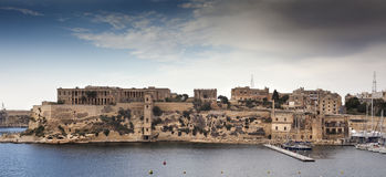 Walls in Malta. Amazing buildings and walls near the big harbor in Malta Royalty Free Stock Photo