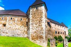 Walls of medieval castle of Ljubljana - Slovenia stock photography