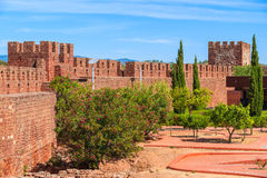 Walls of medieval castle in Silves town Royalty Free Stock Photos