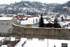 Walls of the medieval city of Brasov Royalty Free Stock Image