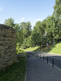 Walls of the medieval city of Brasov, Romania stock photography