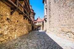 Walls of medieval Kreuzenstein castle in Leobendorf village near Stock Photography