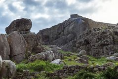 The walls of the Monsanto castle. The stone walls of the castle at Monsanto village Stock Photography