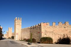 Walls of Montblanc in Tarragona province, Catalonia,. Spain stock photos