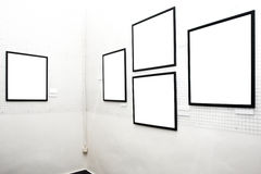Walls in museum with frames Royalty Free Stock Photography