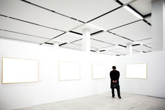 Walls in museum with frames Stock Images