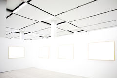 Walls in museum with frames Royalty Free Stock Photos