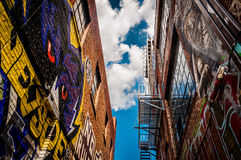 Walls of old buildings in Graffiti Alley, Baltimore, Maryland. Royalty Free Stock Image