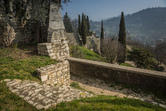 The walls of the old castle in Brescia Royalty Free Stock Image