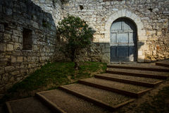 The walls of the old castle in Brescia Royalty Free Stock Photo