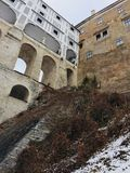 the walls of the old Castle in the Czech krumlov stock images