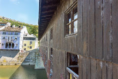 The walls of the old covered bridge in Lovech, Bulgaria stock photos