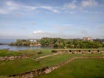 Walls of Galle fort, Sri Lanka. Walls of Old Galle Dutch Fort Against Blue Sky, Sri Lanka stock photos