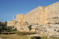 Walls of old Jerusalem. Stock Images