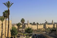 Walls of old town in Jerusalem Royalty Free Stock Photos