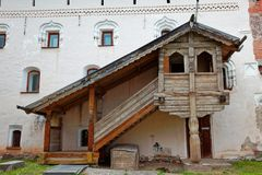 The walls of the Old Town and the towers of Veliky Novgorod, Russia. Wooden porch
