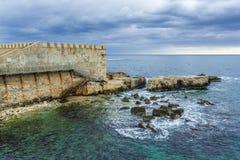 Walls of Ortygia. Isle on Ionian Sea, Syracuse city, Sicily Island in Italy Stock Photos