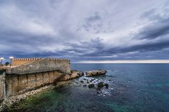 Walls of Ortygia. Isle on Ionian Sea, Syracuse city, Sicily Island in Italy Royalty Free Stock Photos