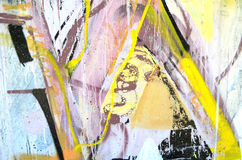 The walls painted in various colorful bright colors. Detail of a graffiti wall. Can use as a background or texture Stock Photography
