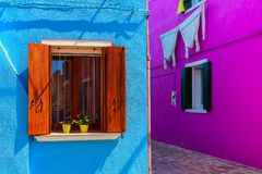 Small street and colorful houses of Burano. Royalty Free Stock Photography