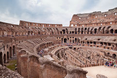 Walls and passages inside colosseum at Rome - Italy. Horizontal Stock Image