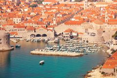 Walls and port of Dubrovnik Royalty Free Stock Photos