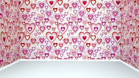 Walls with red hearts and white floor. Empty room. royalty free stock image