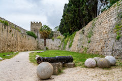 Walls of Rhodes old town and moat near the Palace of the Grand Master, Greece Stock Images