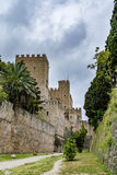 Walls of Rhodes old town and moat near the Palace of the Grand Master, Greece Royalty Free Stock Photo