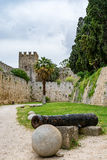 Walls of Rhodes old town and moat near the Palace of the Grand Master, Greece Royalty Free Stock Photography