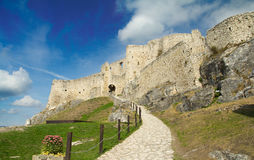 Walls of ruined medieval castle Stock Photos