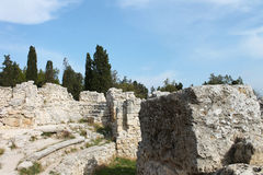 Walls and ruins of the ancient city, Hersonissos, Crimea. Walls and ruins of the ancient city of lost civilization, Hersonissos, Crimea Royalty Free Stock Photos